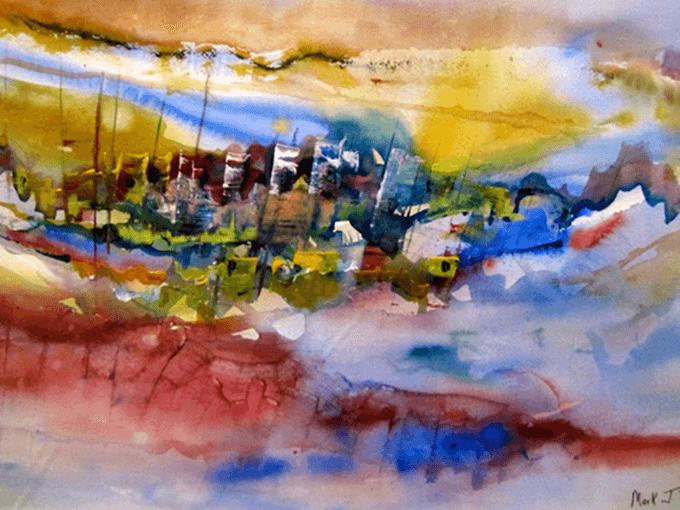 Mediterranean Island, watercolor on paper 15x22