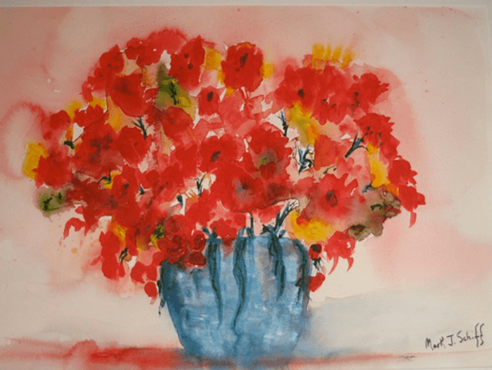 Red Flowers in Vase, watercolor on paper 15x22