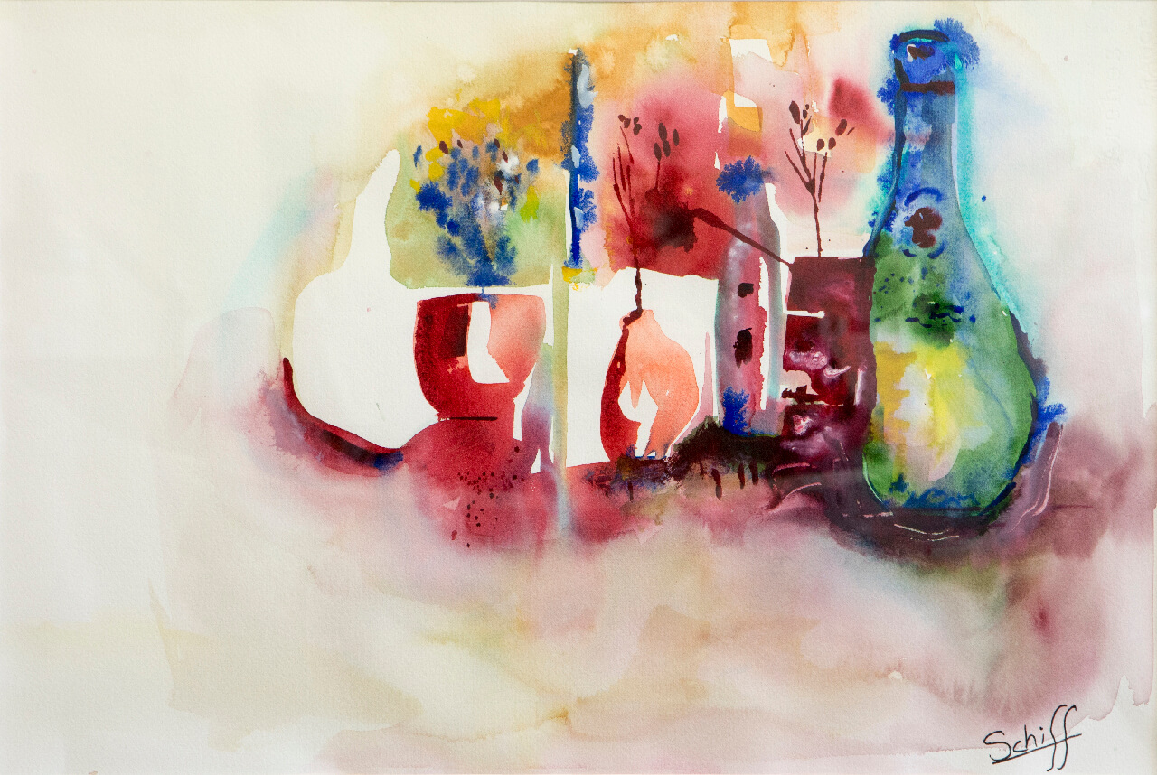 Seven Vases, watercolor on paper 15x22