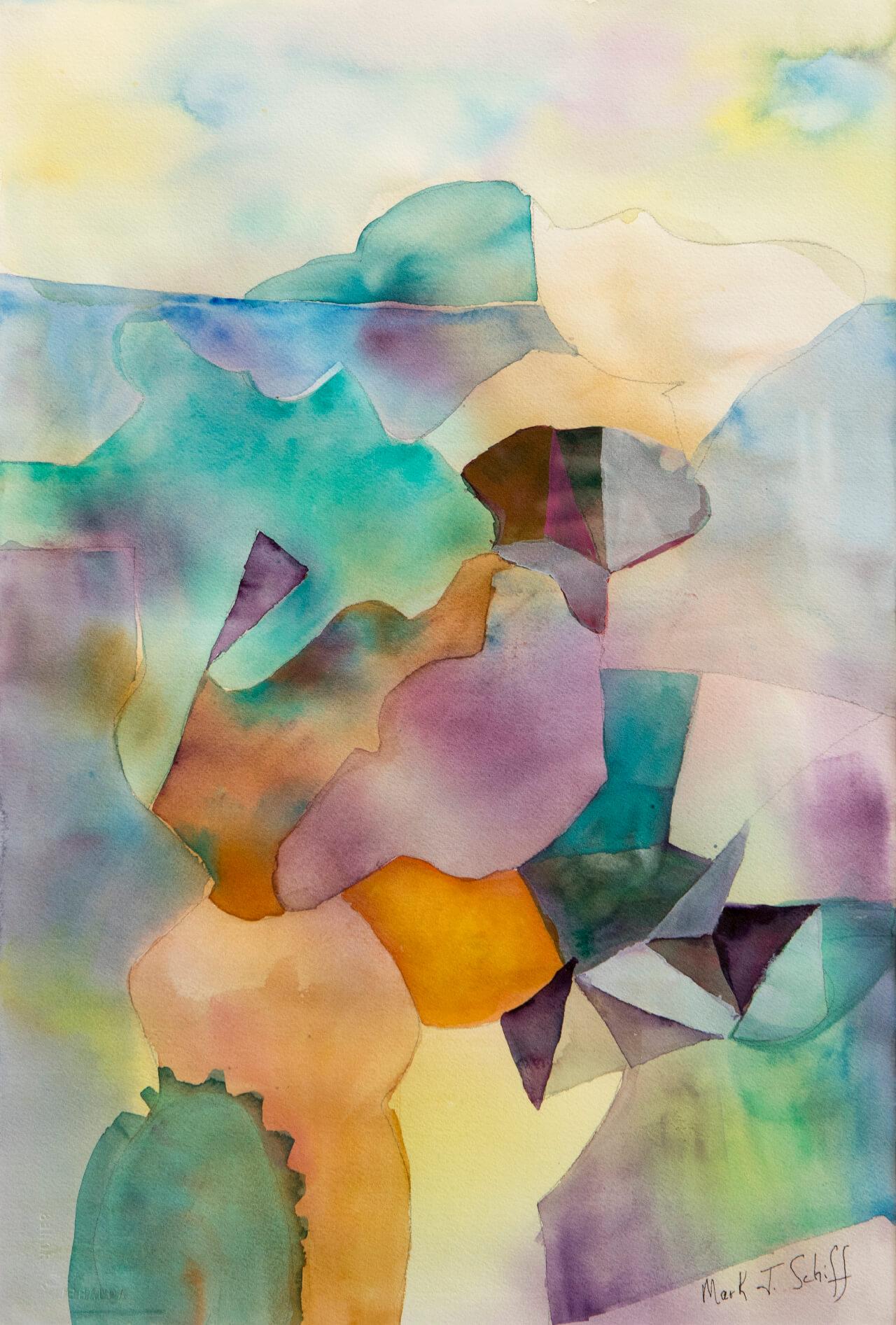 Sierra Cliff, watercolor on paper 15x22