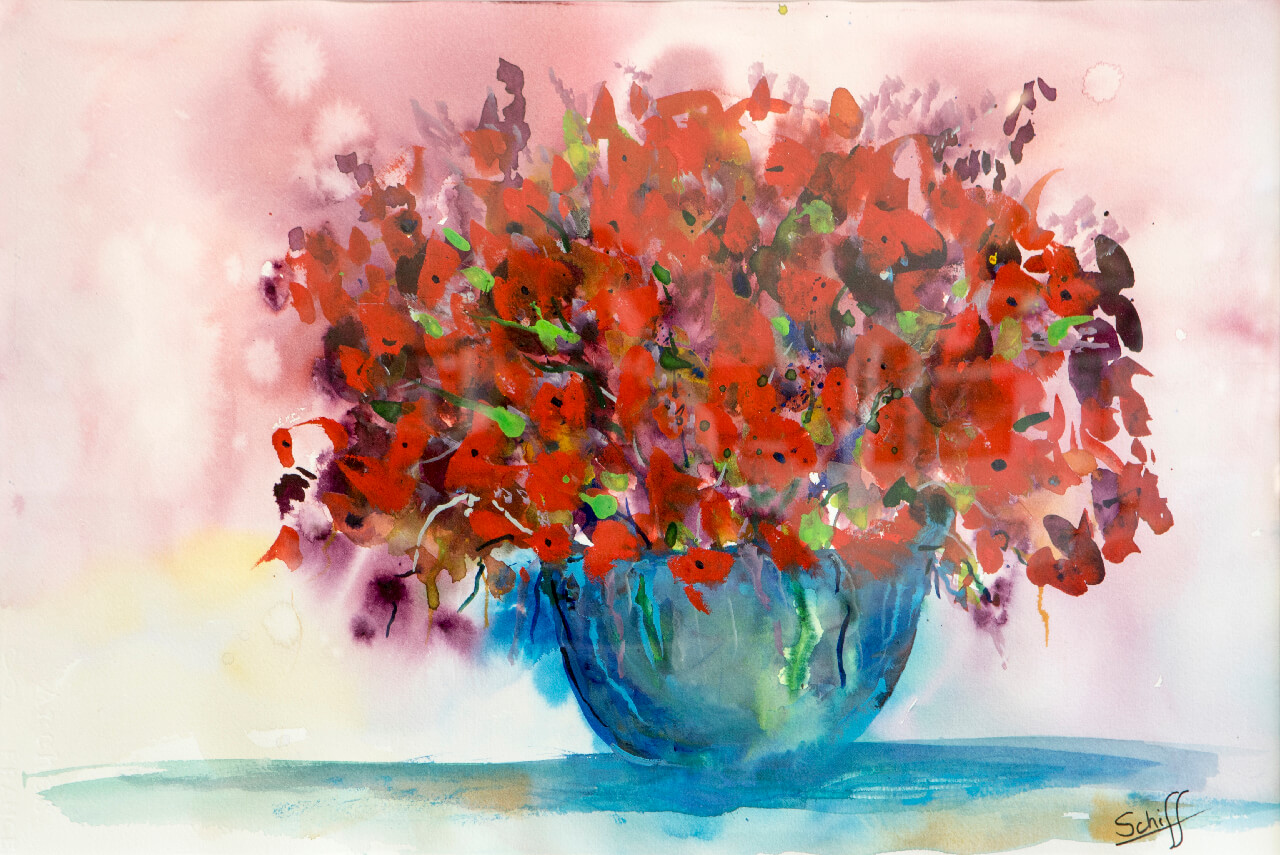 Red Flowers, watercolor on paper 15x22