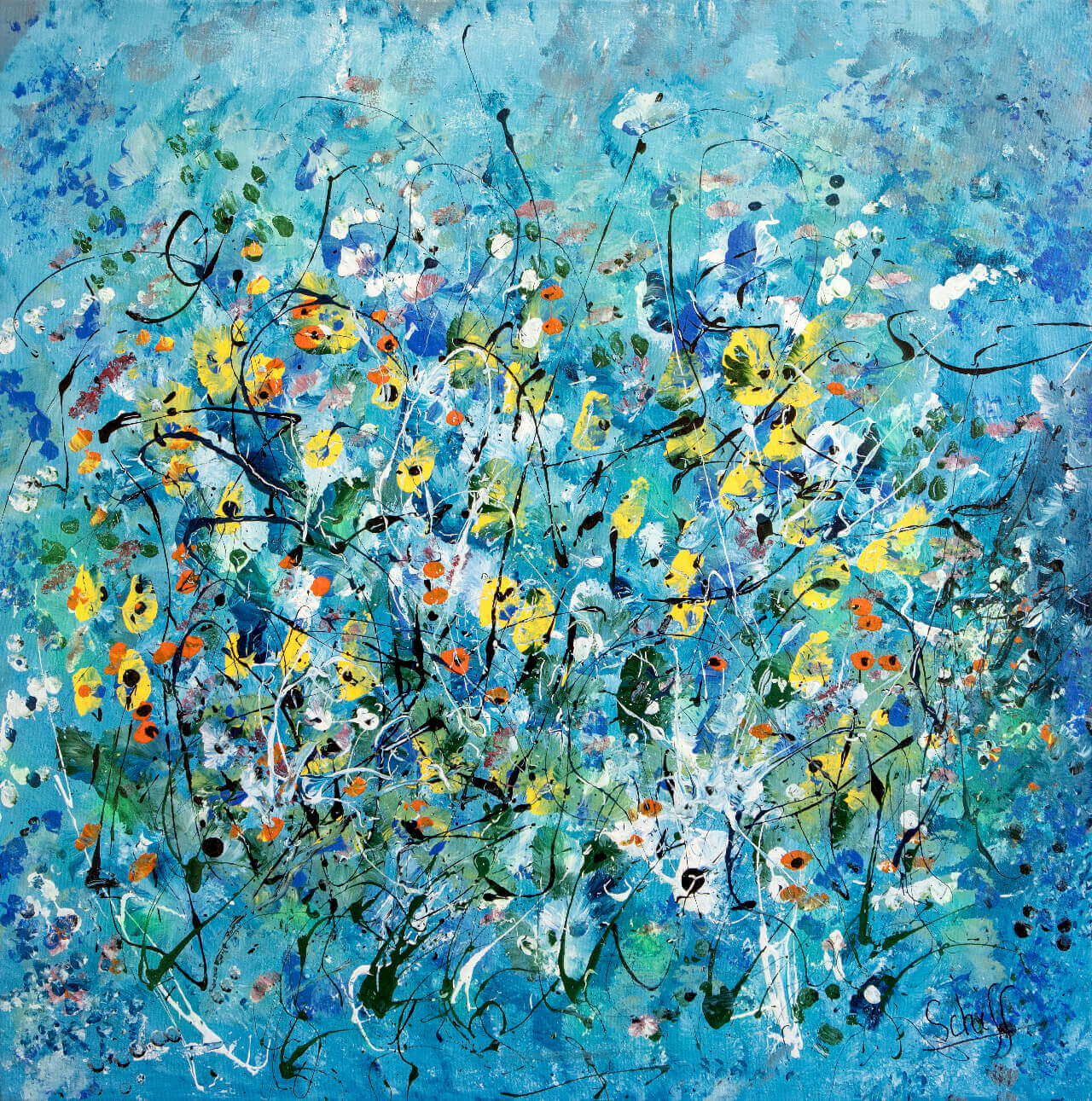 SPRING FLOWERS, 40x40, Acrylic on Canvas
