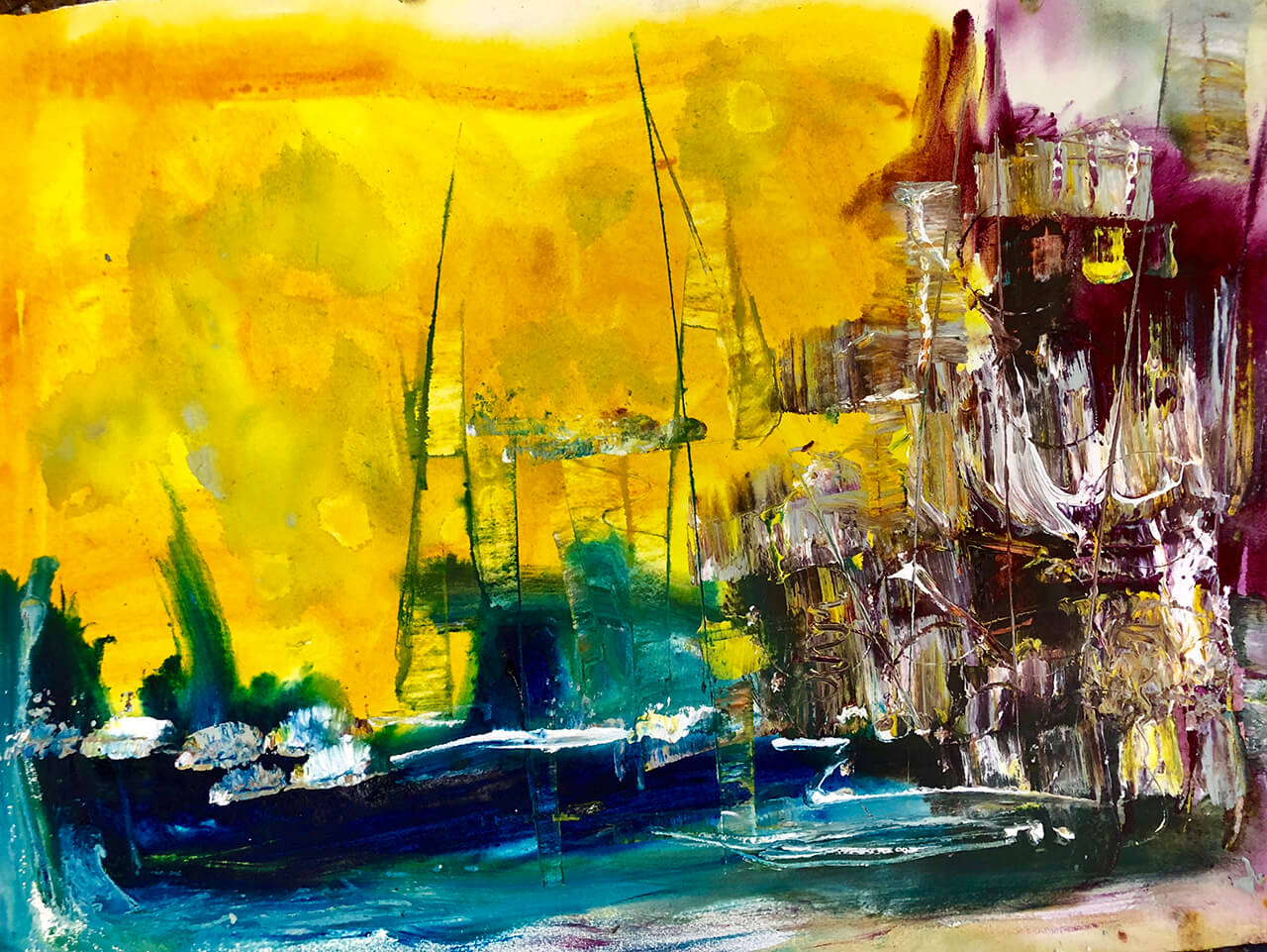 Boat Yard, Watercolor on paper 22X30