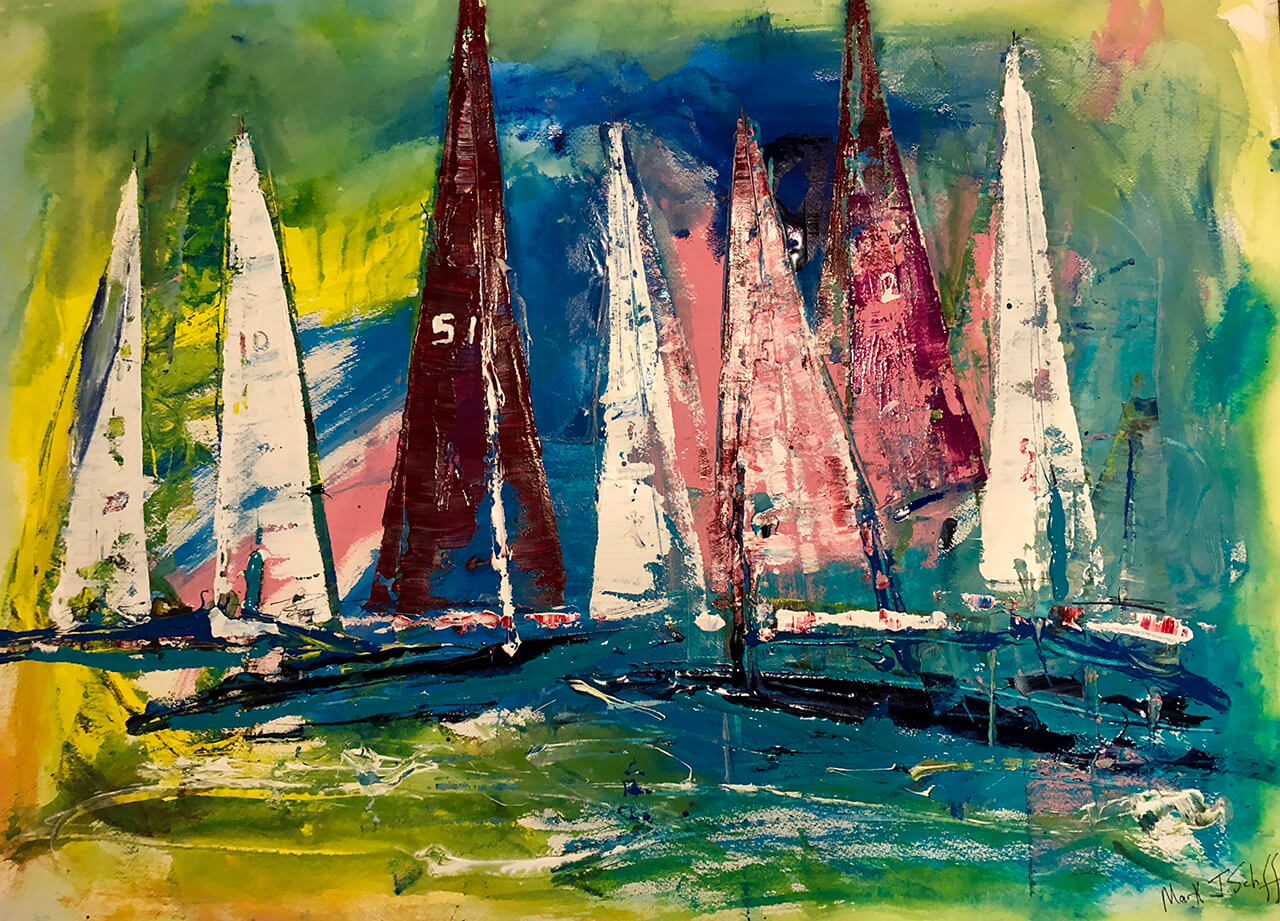 Sailboat Regatta, Watercolor on paper 22X30
